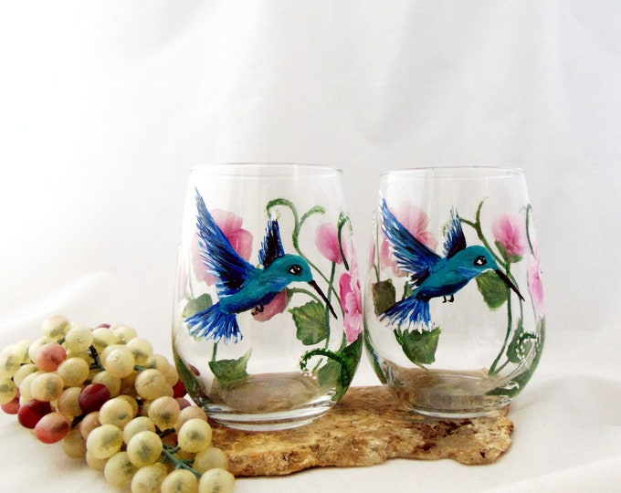 Hand Painted Stemless Wine glass, Hummingbird Wine glass, 17oz stemless wine glass