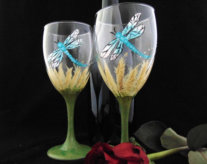 Dragonfly wine glasses, hand painted Dragonfly glassware, 10.25oz.