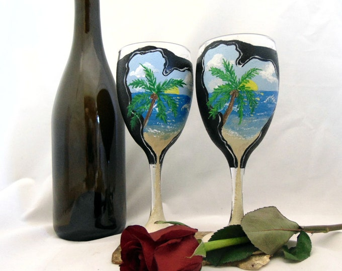 Ocean scene wine glasses - 10.25 oz hand painted ocean wine glasses