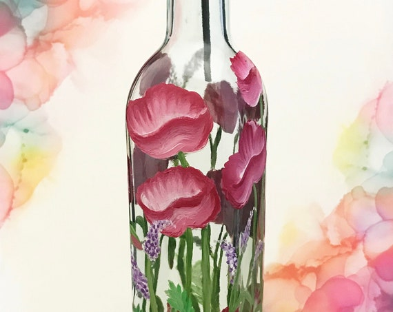 "Olive Oil Dispenser Bottle or soap dispenser, Hand painted floral Olive oil bottle, 12"" high - holds 16oz. Olive Oil Cruet"
