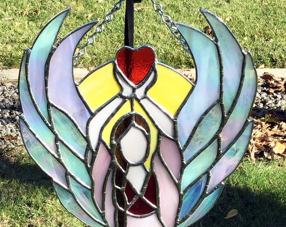 Angel Suncatcher, Stained Glass Angel Sun Catcher, Stained Glass, Glass Angel, Tiffany Style, Prism SunCatcher, Great gift for her