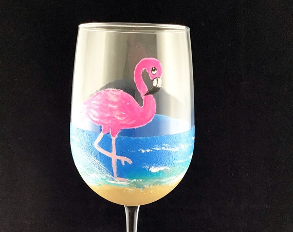 Flamingo Hand painted Wine Glass, 18.5oz glass, hand painted wine glasses beach themed, Flamingo lover gift, Flamingo Art,