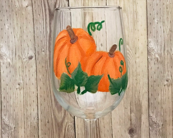 Fall Pumpkin Wine Glasses, Hand Painted Fall Wine glasses, Thanksgiving Wine Glasses, Fall pumpkins, Hostess gifts, Harvest