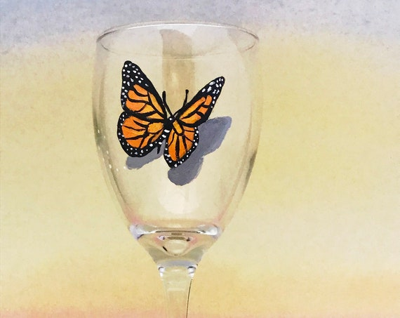 Monarch Butterfly wine glasses, hand painted wine glasses, 10.25oz.