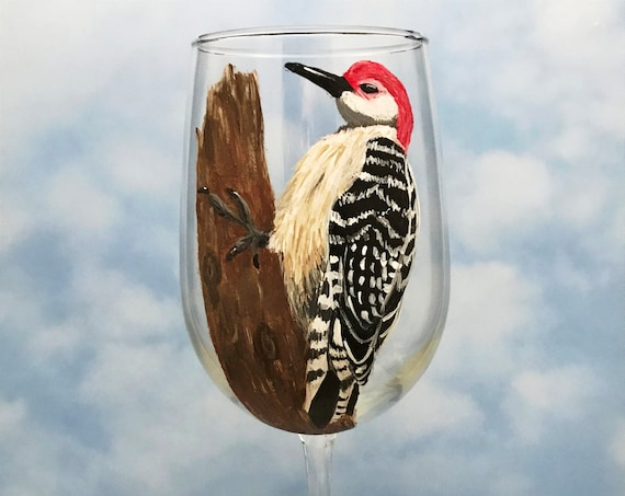 Woodpecker Wine Glass, Red Bellied Woodpecker Glass, hand painted wine glasses, Bird lover gift, Woodpecker Art, Gift for Mom
