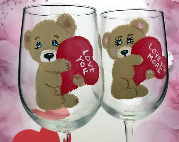 Set of two Teddy Bear Wine Glasses, Valentines Day glasses, I Love You More gift idea, 18.5 oz Wine Glass, Wine Lover Gift, Sweetheart gifts