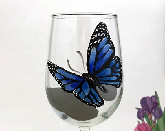 Hand painted Butterfly wine glass, 18.5oz wine glass, blue butterfly wine glass, Wine lover gift, Gift for her