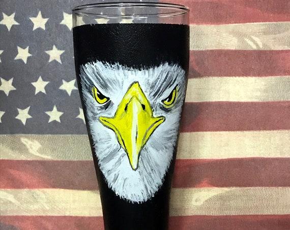 Hand Painted Large Pilsner Glass - Eagle Beer Glasses 23oz.