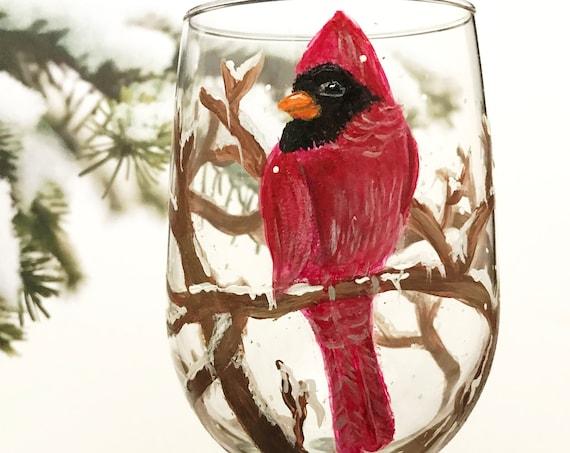 Cardinal Wine Glass, Christmas Cardinal Wine glasses, Wine glasses, Hand Painted Wine glasses, Holiday Glasses, wine lover gifts