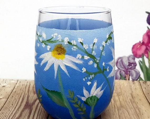 Sunflower wine glass, Stemless Sunflower Wine glass, Sunflower Gift idea, Sunflower Drinking glass Decor, Easter Drinking glasses