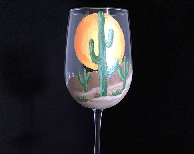 Southwestern wine glasses, Cactus Wine Glass, Hand painted wine glass, Custom Wine Glasses - Hand painted Large 18.5oz wine glass