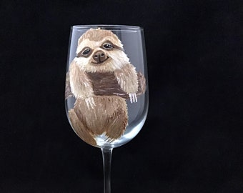 Sloth wine glass, Cute Sloth Wine Glass, Custom Let's Get Slothed Wine Glasses, Hand painted Large 18.5oz, Personalized Gift for Best Friend