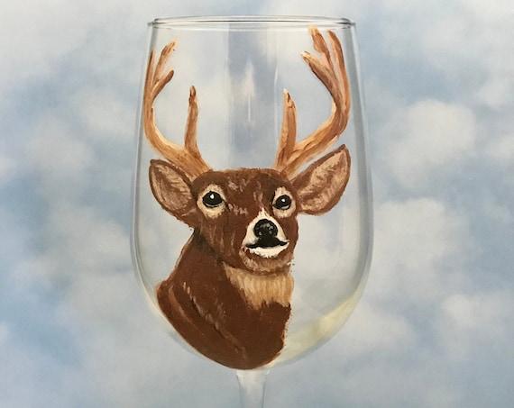 Deer wine glasses, Male Buck  Wine glass, Reindeer wine Glasses, Hand painted Large 18.5oz wine glass, Animal lover gift, Gift for