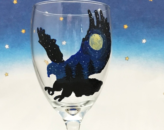 Hand painted silhouette Eagle Wine glasses Painted with a midnight sky stars and a bright moon