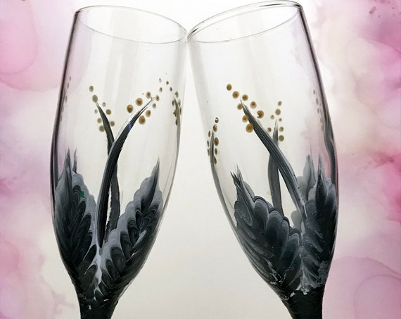 Set of 2 Champagne glasses, Toasting Flutes, Hand painted Champagne glasses, 6oz.