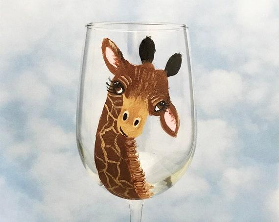 African Safari Wine Glass, Giraffe gift for her, Giraffe Wine Glass, Wine Lover Gift, Giraffe Lover Gift, Jungle wine glass