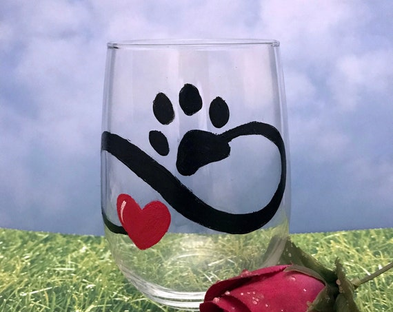 Infinity Love Paw wine glass, Pet paw wine glass, Stemless wine glass, Animal lover gift, Wine lover gift, Gift for her