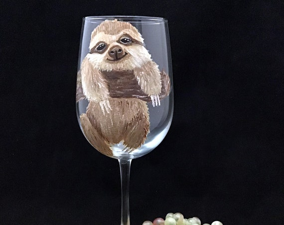 Sloth wine glass, Cute Sloth Wine Glass,  Let's Get Slothed Wine Glasses, Hand painted Large 18.5oz, Personalized, Gifts under 25