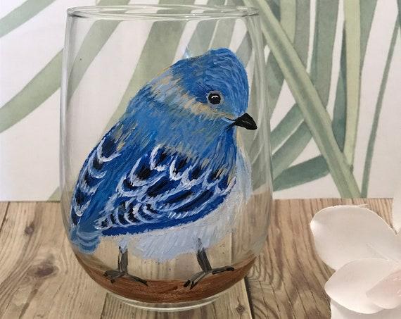 Stemless finch wine glass, Blue Birds wine glasses, hand painted stemless wine glasses, Wine lover gifts, Bird lover gift, drinking glass