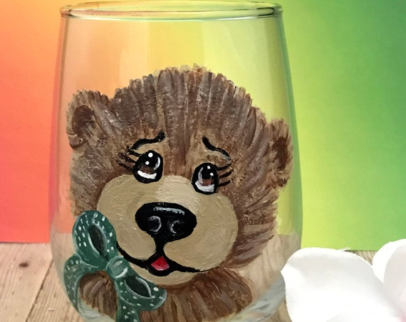 Hand Painted Stemless Teddy bear Wine Glasses, Christmas Drinking glasses, 17oz., Teddy Bear wine glasses, Baby shower drinking glasses,