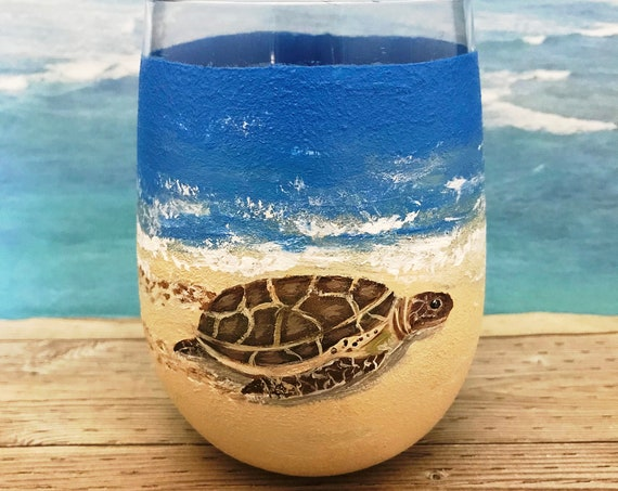 Reserved for Gina Foote, Sea Turtle stemless wine glass, 17oz