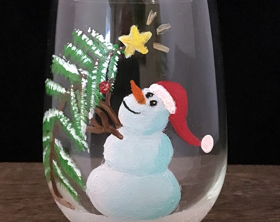 Stemless Christmas Snowman Glasses, Christmas Drinking glasses, 17oz. Christmas Tree and Snowman Stemless Wine glasses