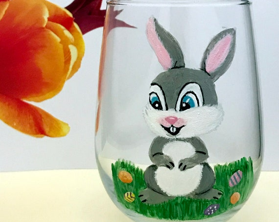 Stemless Bunny Wine Glasses, Bunny Drinking Glasses, Rabbit Wine glass, Easter Gift, Drinking glasses,