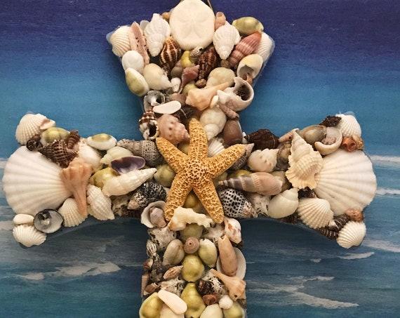 Sea Shell Mosaic Wall Cross, Shabby Chic, Ready to Ship, All Natural Sea Shells,