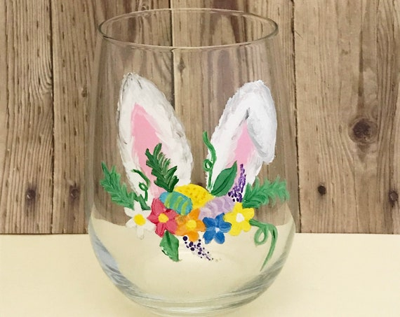 Stemless Easter Bunny Ears Wine Glasses, Bunny Ears Drinking Glasses, Easter Gift, Easter basket stuffers, Adult basket stuffer ideas