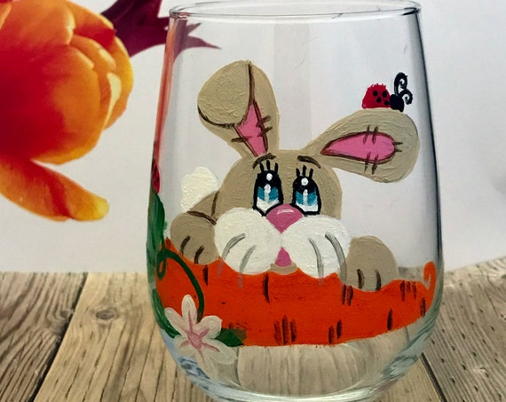 Easter Bunny Stemless Wine Glass, Easter Bunny drinking glasses, Easter home Decor, Easter Drinking Glass, Stemless Wine Glass, Easter ideas