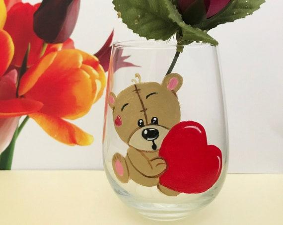 Teddy Bear Wine Glasses, Red Heart Valentines wine Glass, Drinking glasses, 17oz. Stemless Wine Glass, Wine Lover Gift