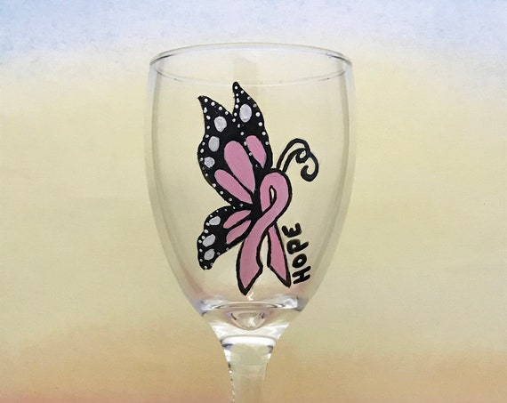 Breast Cancer Ribbon Butterfly Wine glasses, Hand Painted wine glasses 10.25oz.