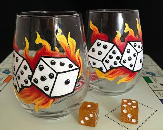 Game night glasses, Family fun night stemless wine glasses, Family game night decor, Game Dice Glasses