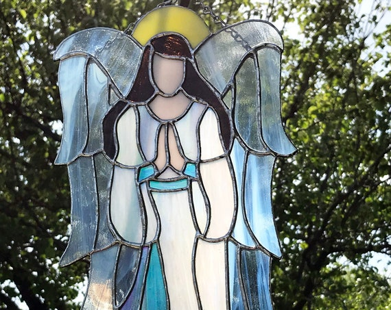 Stained Glass Angels, Tiffany style, Angel Suncatcher, Angel Decor, glass art, Gift for her,  prism suncatcher, home decor, wall art, Gifts