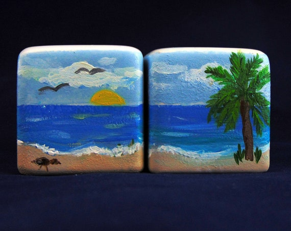 "Salt and Pepper shaker Set, 2"" high, Hand Painted Ocean Scene Salt and Pepper Shaker"