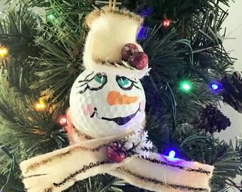 golf ball snowman ornament, Golf lover gift, Golf ball snowman ornament, Real Golf ball ornament