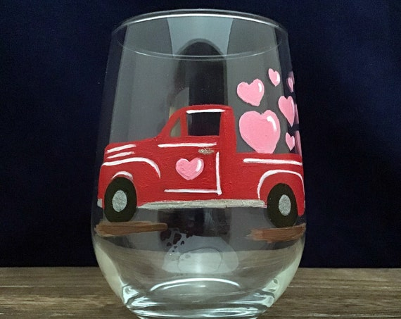 Valentine's Day Glasses, Little Red Valentine's Truck,  Drinking glasses, 17oz. Red Truck, Stemless Valentine's Wine glasses