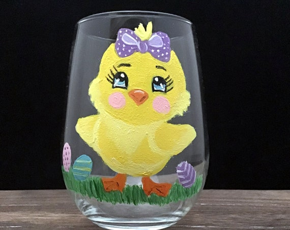 Stemless Easter Chicks Wine Glasses, Easter Chick Drinking Glasses, Easter Wine glass, Easter Gift, Drinking glasses,