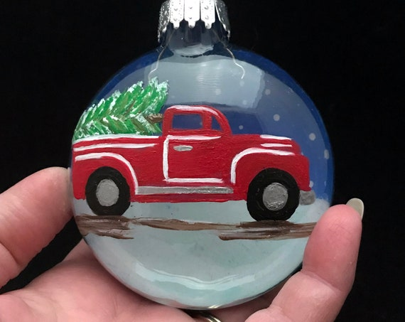 """Hand painted Small Red Truck Christmas ornament, Red Truck Christmas Tree Ornament, 3 1/4"""""""