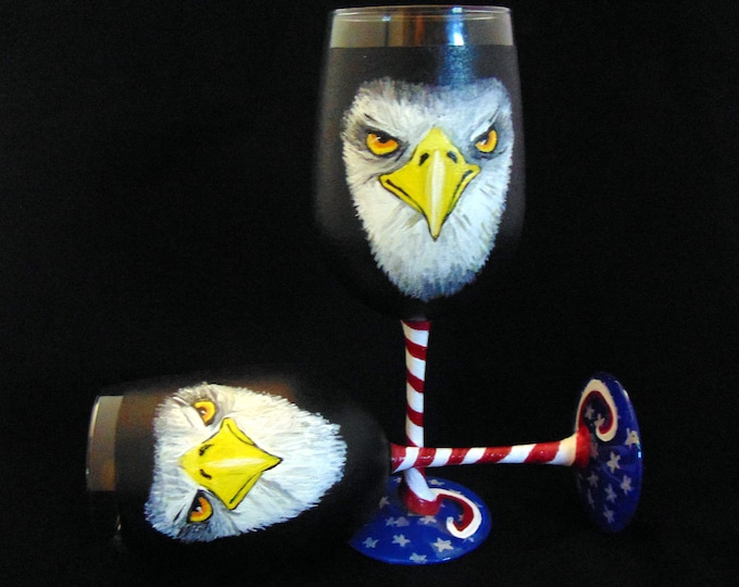 Eagle Wine glass - Hand painted Large 18.5oz wine glass