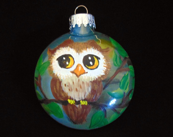 Hand painted Owl ornament - Owl Christmas ornament,  3 1/4""