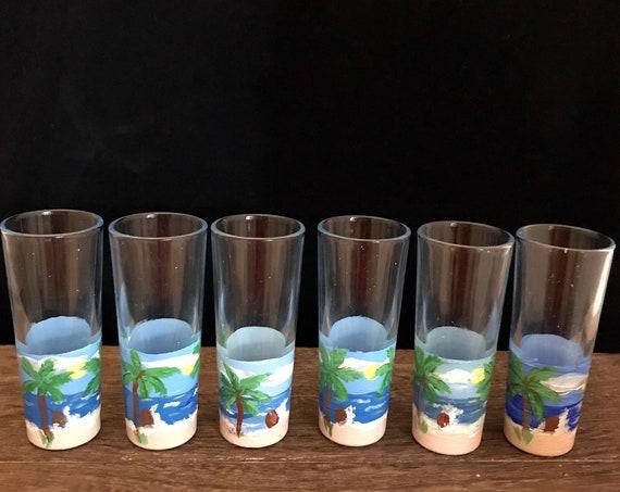 Shot Glasses,set of 6 shot glasses Hand painted shot glasses, ocean scene shot glasses,  party glasses, party shots,