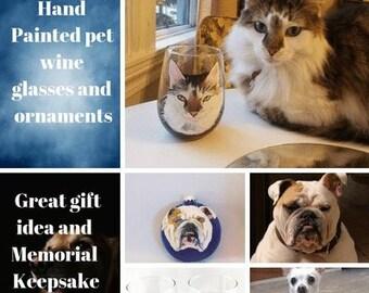 Custom Hand painted Pet Portrait Wine Glass or ornament