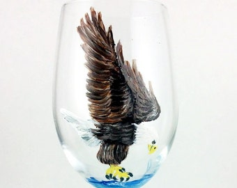 Crystal Wine Glasses, Hand Painted Eagle Wine Glasses, Wine Lover Gift