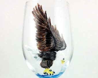 Crystal Wine Glasses, Wine glasses, Bald Eagle, Wine lover Gift, Eagle, housewarming gift, Eagle Gift, Bird Lover Gift, Wine Glass, Crystal