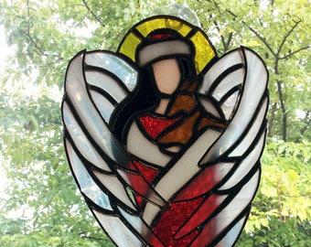 Stained Glass Angel, Tiffany Style, Angel Wall Decor, Christmas decoration, Angel Decor, Spiritual Art, Guardian Angels, Window Art, Gifts