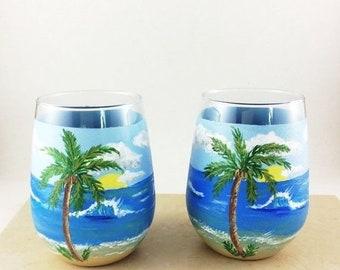 Holiday Sale Ocean Wine glass, Stemless wine glass, Ocean scene glasses, Hand painted glasses, drinking glasses, Wine lover Gifts, Ocean lov