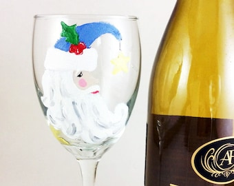 Christmas Wine Glass, Holiday wine glass, Custom wine glass, Christmas gift bag, Painted wine glass, Wine glasses, wine lover gift, Santa