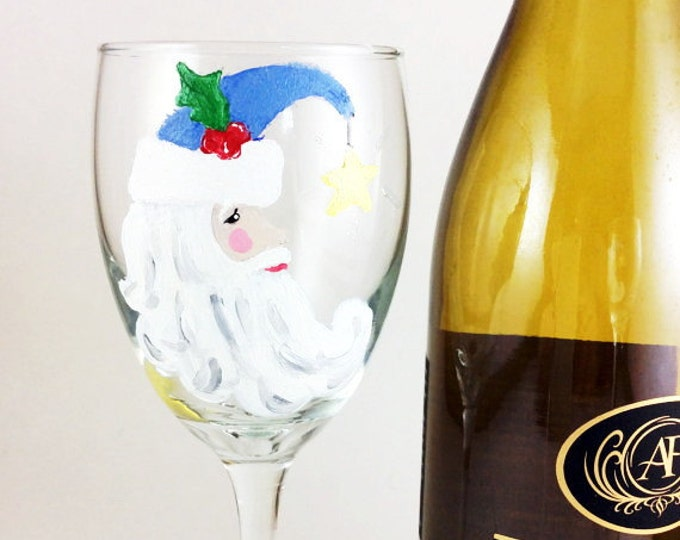 Hand Painted Santa Moon Wine glasses, 10.25oz.