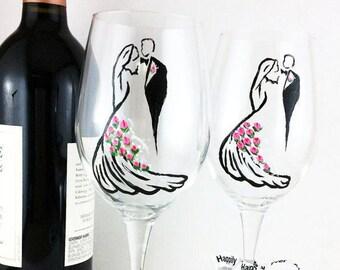 Crystal wedding wine glasses, Set of 2 Lead Free Crystal